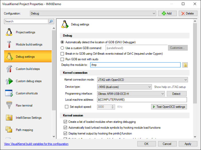 Debugging Linux Kernel on i MX6 with JTAG and Visual Studio
