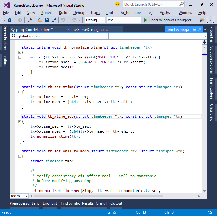 Exploring the Linux Kernel using Visual Studio and