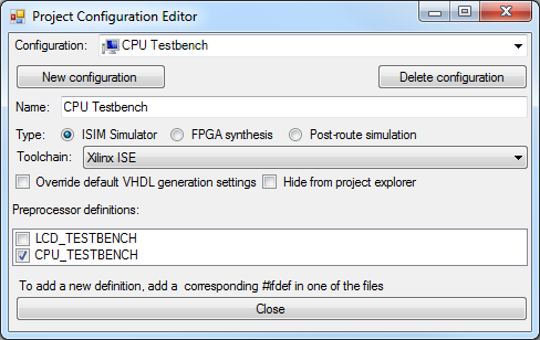screenshot project configuration editor