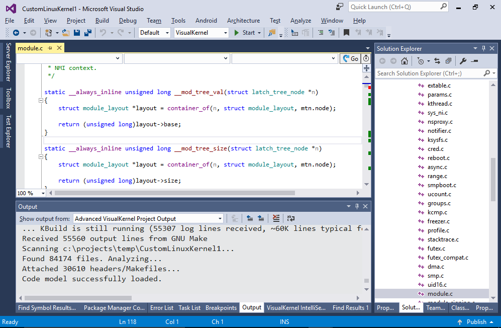 Building and modifying Linux Kernel with Visual Studio