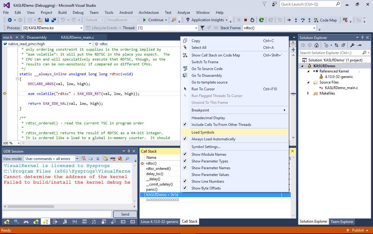 Debugging Linux Kernels with KASLR – Sysprogs Tutorials