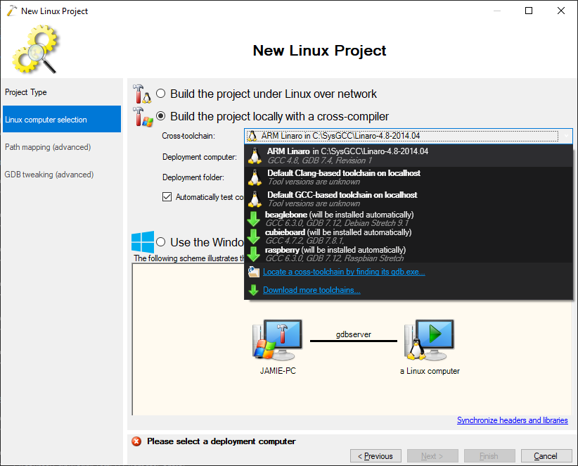 Topic: Toolchain shows in packages dialog but not project
